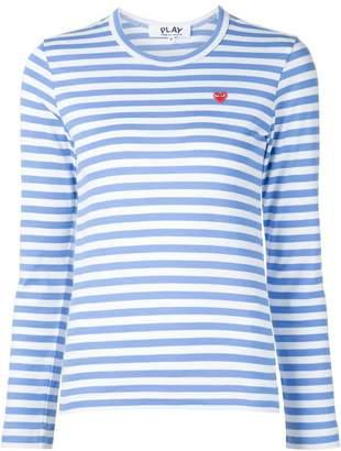 Comme des Garcons mini heart logo striped T-shirt