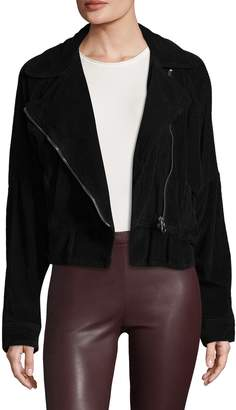 Free People Women's Slouchy Cotton Motorcycle Coat