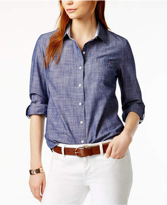 Tommy Hilfiger Cotton Printed Roll-Tab Utility Shirt