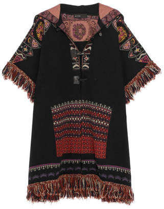 Etro - Fringed Hooded Jacquard-knit Wool-blend Jacket - Black $2,160 thestylecure.com