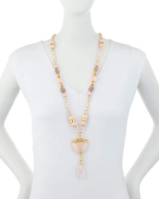 Jose & Maria Barrera Long Pearl & Mixed Bead Heart Y-Drop Necklace