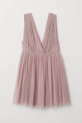 H&M V-neck Tulle Dress - Pink