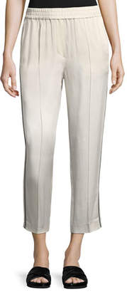 Brunello Cucinelli Shiny Straight-Leg Pull-On Pants with Track Stripes