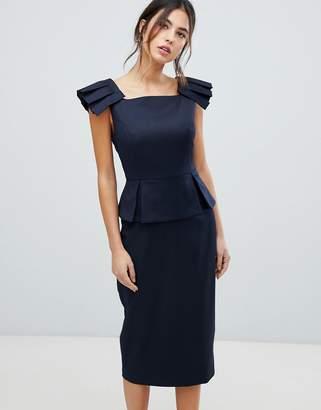 Ted Baker Rivaadd Pleated Shoulder Peplum Dress