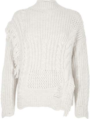 River Island Womens Cream mixed stitch fringe cable knit jumper