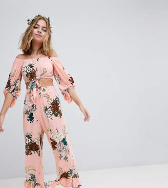 Sisters Of The Tribe Petite Wide Leg Pants With Frill Hem In Floral Print Co-Ord