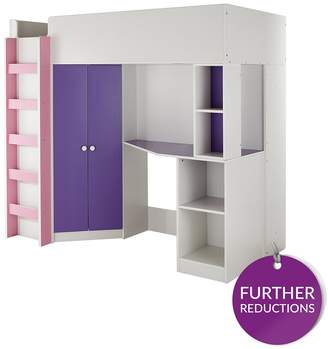 Kidspace New Metro High Sleeper Bed With Desk, Wardrobe, Shelves And Optional Mattress
