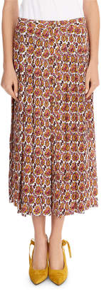 Victoria Beckham Paisley Crepon Pleated Silk Skirt