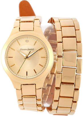 JCPenney FINE JEWELRY Personalized Dial Womens Diamond-Accent Gold-Tone Wrap Bracelet Watch