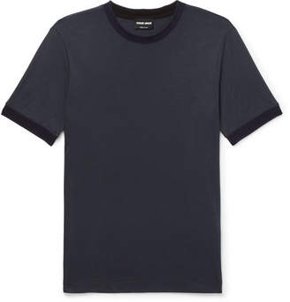 Giorgio Armani Slim-Fit Contrast-Trimmed Jersey T-Shirt - Navy
