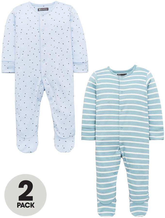 Mini V by Very Baby Boys 2 Pack 3D Ear Sleepsuits