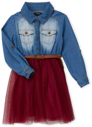 Zunie (Girls 4-6x) 2fer Belted Tutu Dress