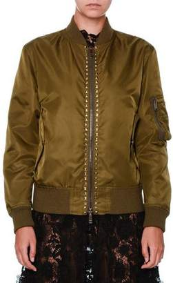 Valentino Rockstud Nylon Bomber Jacket, Olive