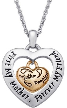 """Generic Two-Tone Dangling """"Mother/Daughter"""" Heart Sentiment Pendant, 18"""" with 2"""" Extender"""