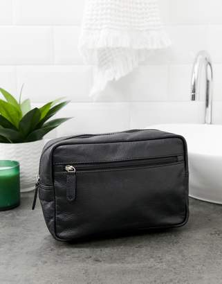 Asos DESIGN leather toiletry bag in black with check internal