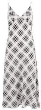Marc Jacobs Redux Grunge Bias-Cut Plaid Washed Silk Slip Dress