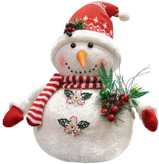 Nordic Northlight 20In Alpine Chic Sparkling Snowman With Style Santa Hat Christmas Decoration