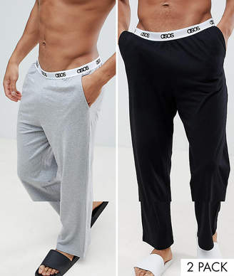 Asos DESIGN straight pyjama bottoms in black & gray with branded waistband 2 pack in organic cotton