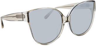 Linda Farrow Transparent Cat-Eye Sunglasses, Gray Pattern