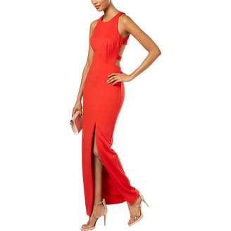Betsy & Adam Womens Strappy Back Side Slit Scuba Dress