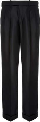 Burberry Pleated Wool-Blend Wide-Leg Pants