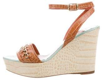 Oscar de la Renta Embossed Wedge Sandals