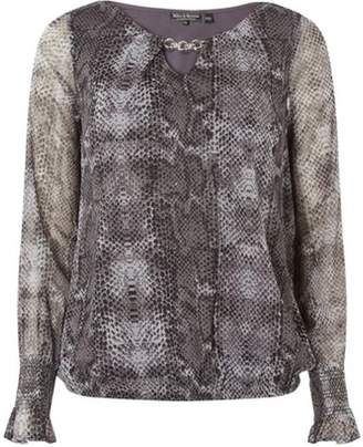 Womens **Billie & Blossom Grey Faux Snake Print Blouse