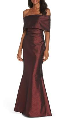 Vince Camuto Foldover Neckline Gown