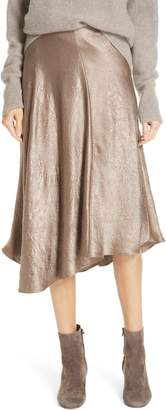 Vince Asymmetrical Crinkled Satin Skirt