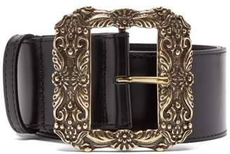 Etro Engraved Buckle Leather Belt - Womens - Black