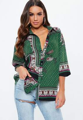 Missguided Green Long Sleeve Paisley Print Shirt