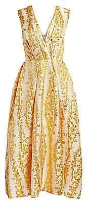Monique Lhuillier Women's Mimosa Jacquard Midi Dress
