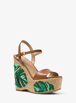 Michael Kors Fisher Palm Embroidered Wedge