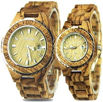a88dc5acd3 ペアウォッチ YFWOOD カップル時計 優しい木の温もりを生かした木製腕時計 メンズ レディース