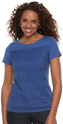 Croft & Barrow Women's Mixed-Media Lace Tee