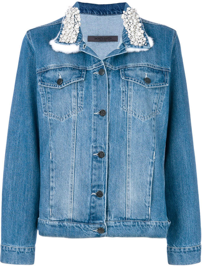 embellished collar denim jacket