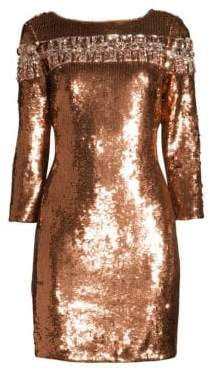 Aidan Mattox Women's Embellished Sequin Cocktail Dress - Light Fig - Size 0