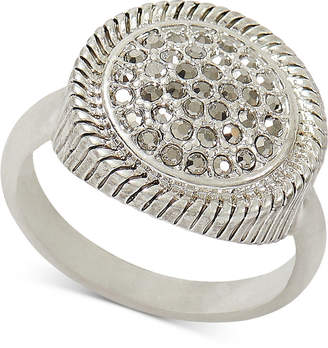 Lucky Brand Silver-Tone Pave Textured Ring