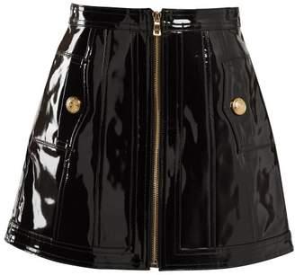 Balmain High Rise Patent Leather Skirt - Womens - Black