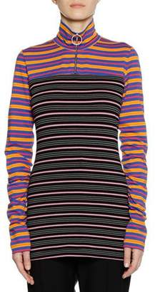 Marni Long-Sleeve Zip-Collar Multi-Stripe Jersey Knit Shirt