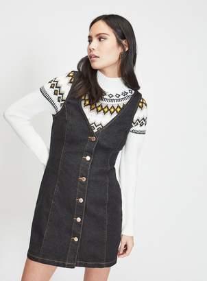 5cb611932aa91 Miss Selfridge Black Denim V-Neck Button Through Pinafore Dress