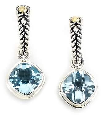 Samuel B Jewelry Sterling Silver & 18K Yellow Gold Bezel Set Cushion Cut Blue Topaz Drop Earrings