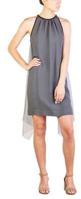 Prada Women's Acetate Viscose Blend Winged Dress Grey.