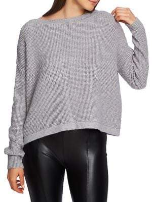 1 STATE Moody Hues Waffle Stitch Lace-Up Oversized Sweater