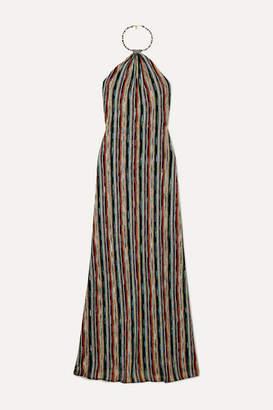 Missoni Striped Metallic Crochet-knit Halterneck Maxi Dress - Black