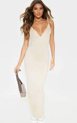 PrettyLittleThing Stone Jersey Plunge Strappy Maxi Dress