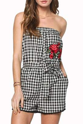 Everly Gingham Embroidered Strapless-Romper