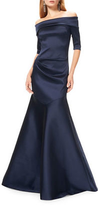 Theia Satin Off-the-Shoulder Mermaid Gown $895 thestylecure.com
