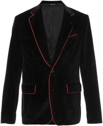 Alexander McQueen contrast piped blazer