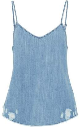RtA Distressed Cotton-Chambray Camisole